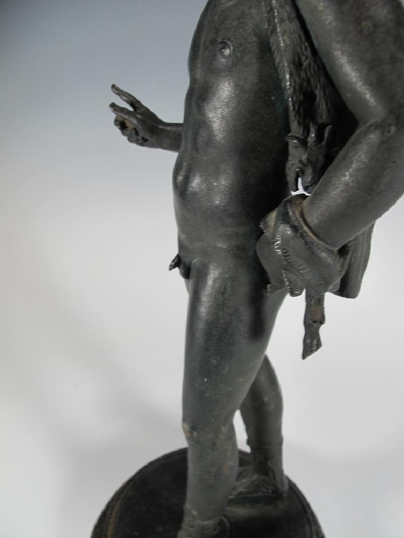 Antique European Narcissus nude bronze statue - 8