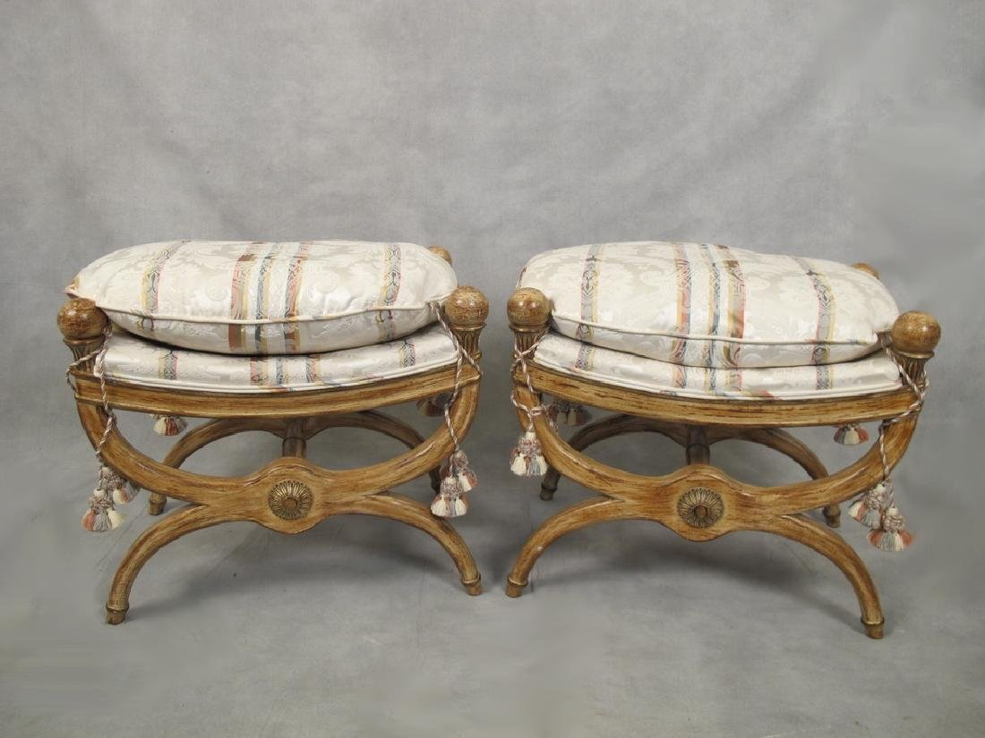 French empire style modern pair of stools
