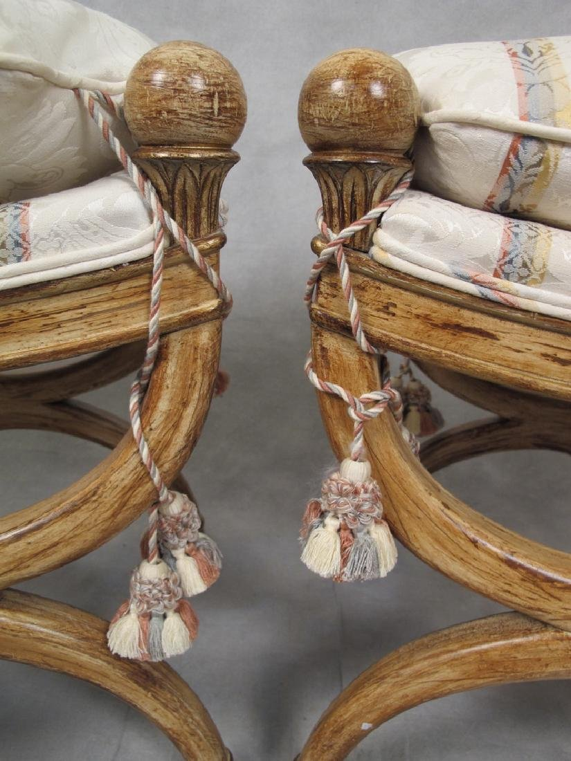French empire style modern pair of stools - 5