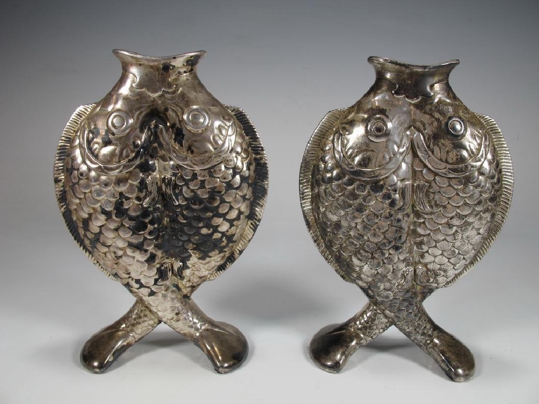 Antique French Cristofle pair of fishes vases