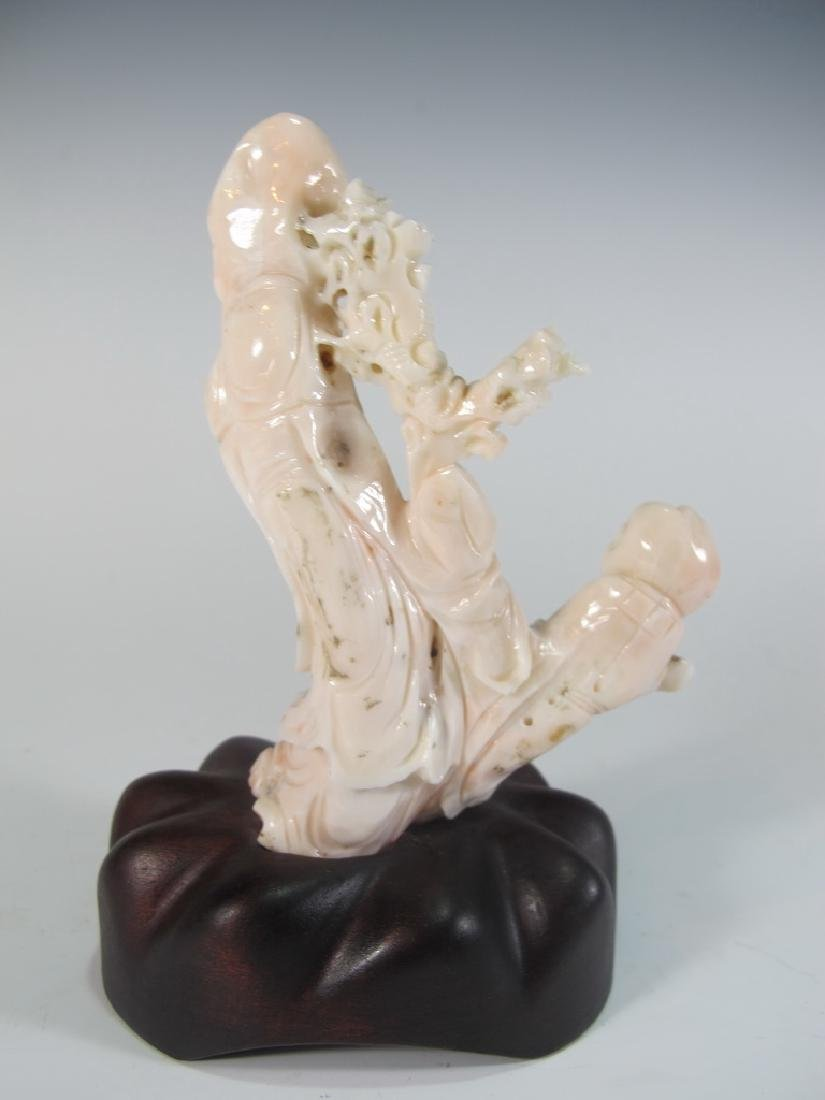 Antique Chinese carved coral statue - 5
