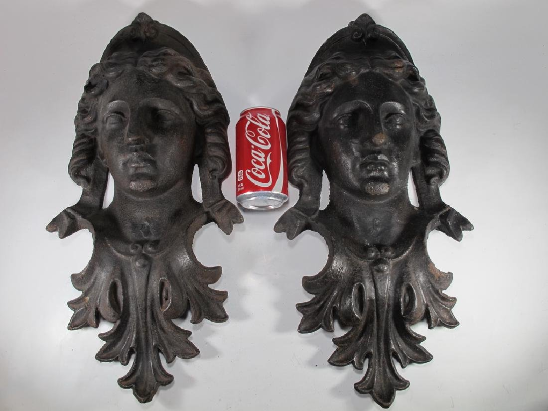 Antique pair of French iron masks