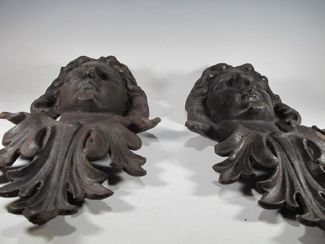 Antique pair of French iron masks - 6
