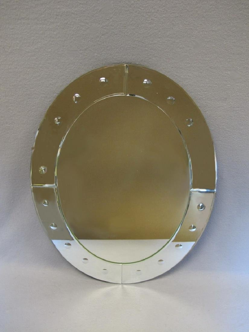 Venetian style oval glass beveled mirror