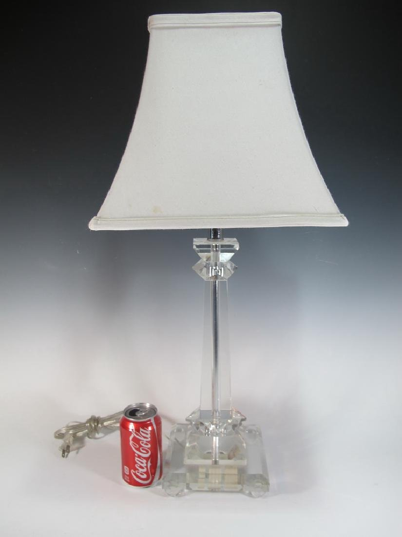 Old Lucite table lamp with shade