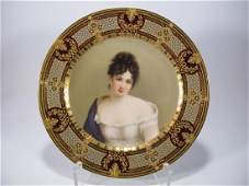 Antique Old Vienna porcelain plate, signed