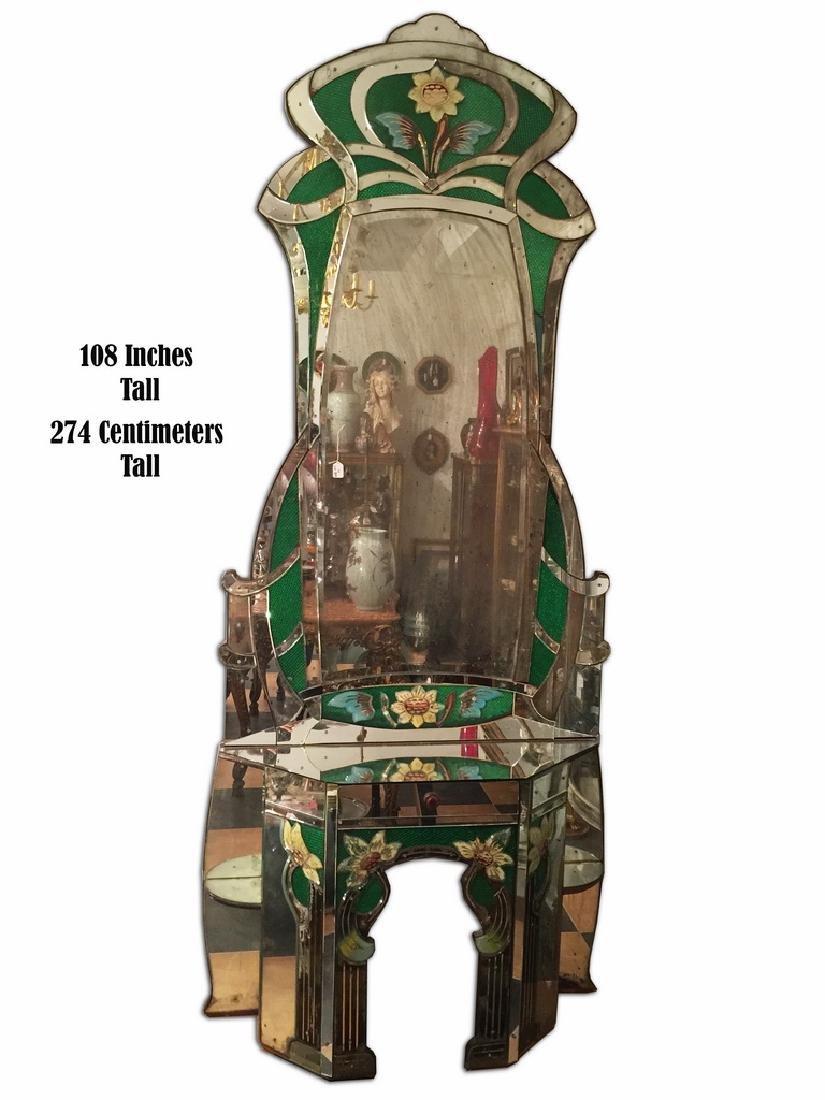 Large antique Art Nouveau European console mirror