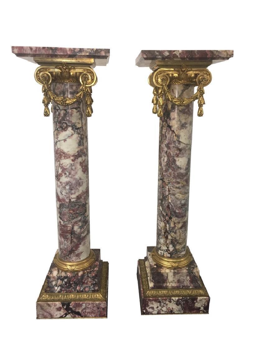 Antique pair of bronze & breccia violetta marble