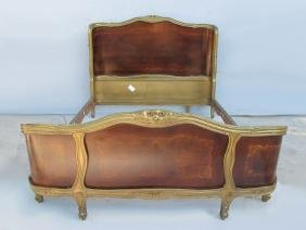 Nice Old French Louis Xv Inlaid Full Bed