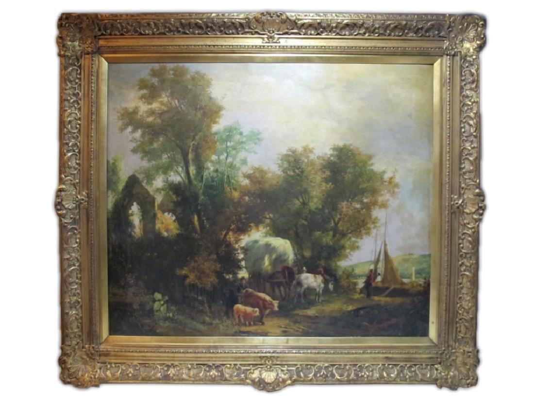 Signed G. VINCENT oil on canvas landscape painting