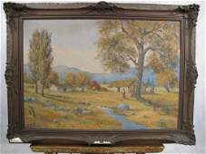 Signed European oil on canvas landscape painting