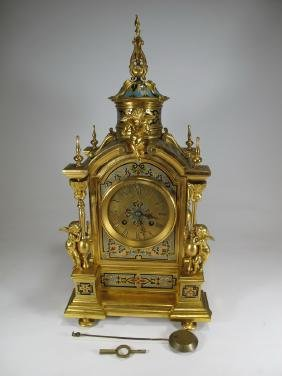Antique French Leroy Gilt Bronze Champleve Clock
