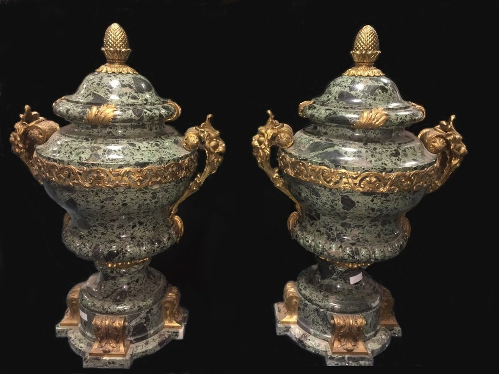Probably Henry DASSON pair of palatial marble & bronze