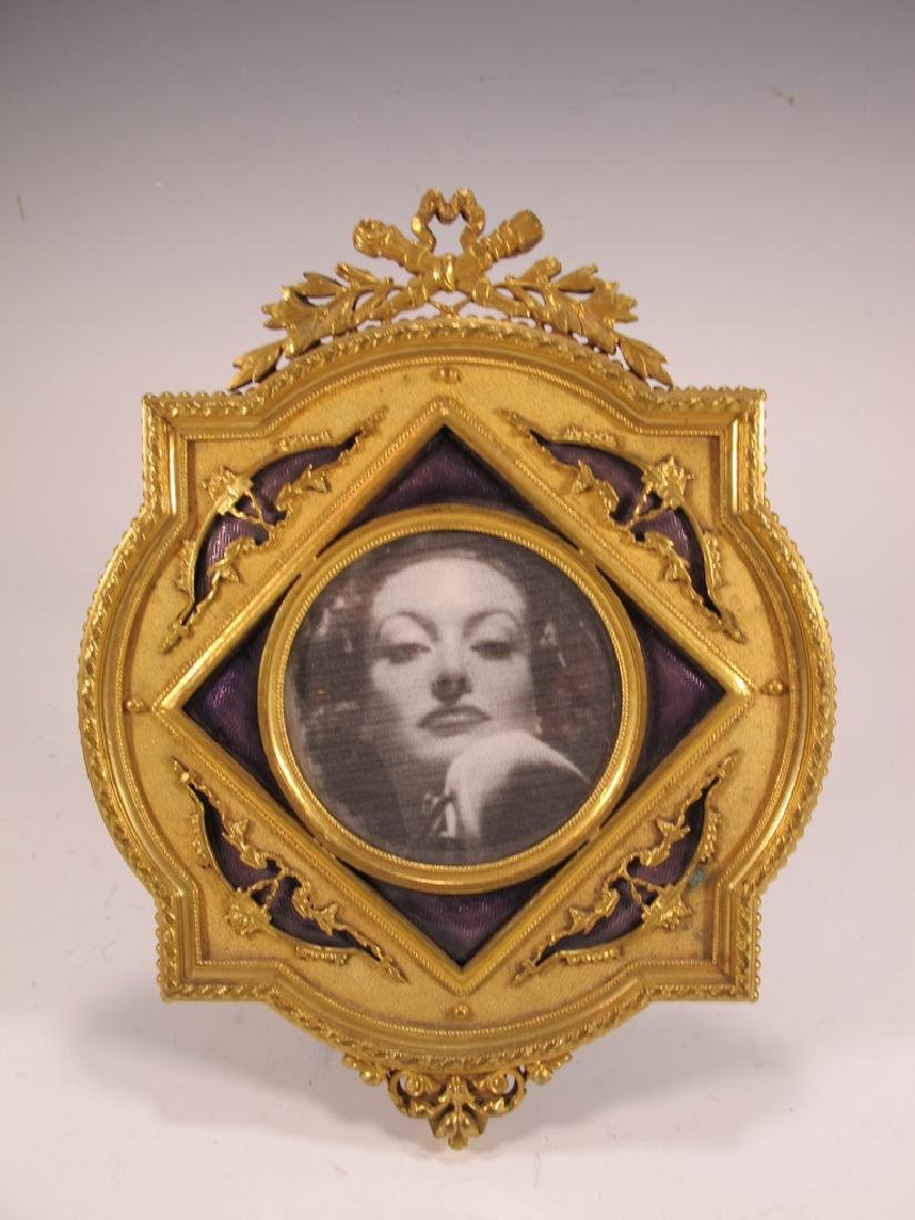Antique French gilt bronze enamel picture frame
