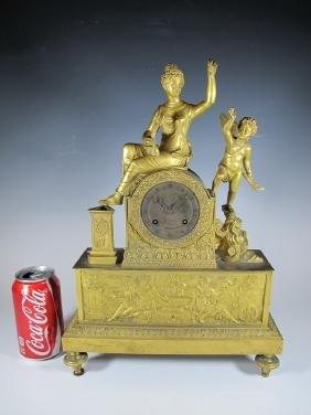 18th/19th C French Gilt Bronze Mantel Clock