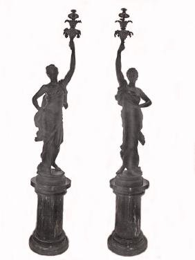 Antoine Durenne (1822-1895) Huge Pair Of Iron Statues