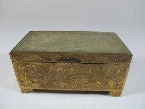Antique Oriental Jade & Bronze Stamps Box