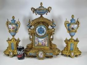 H Y Marc, Paris & Japy Freres Bronze & Porcelain Clock
