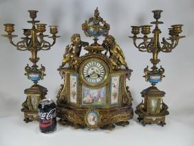 Antique French Bronze & Porcelain Clock Set
