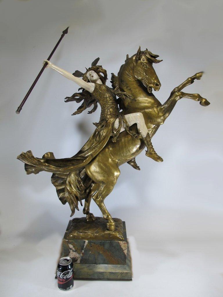 Louis CHALON (1866-1940) Valkyrie bronze statue