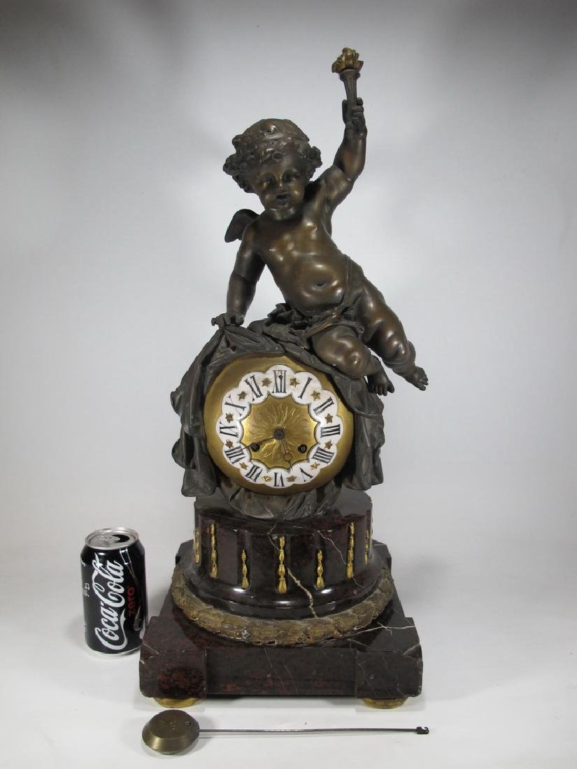 19th C French bronze & marble mantel clock