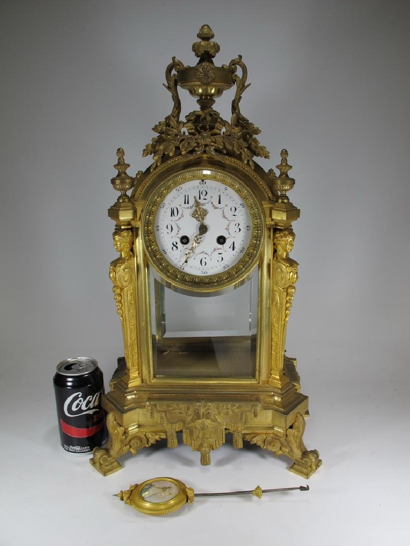 Antique French Japy Freres gilt bronze mantle clock