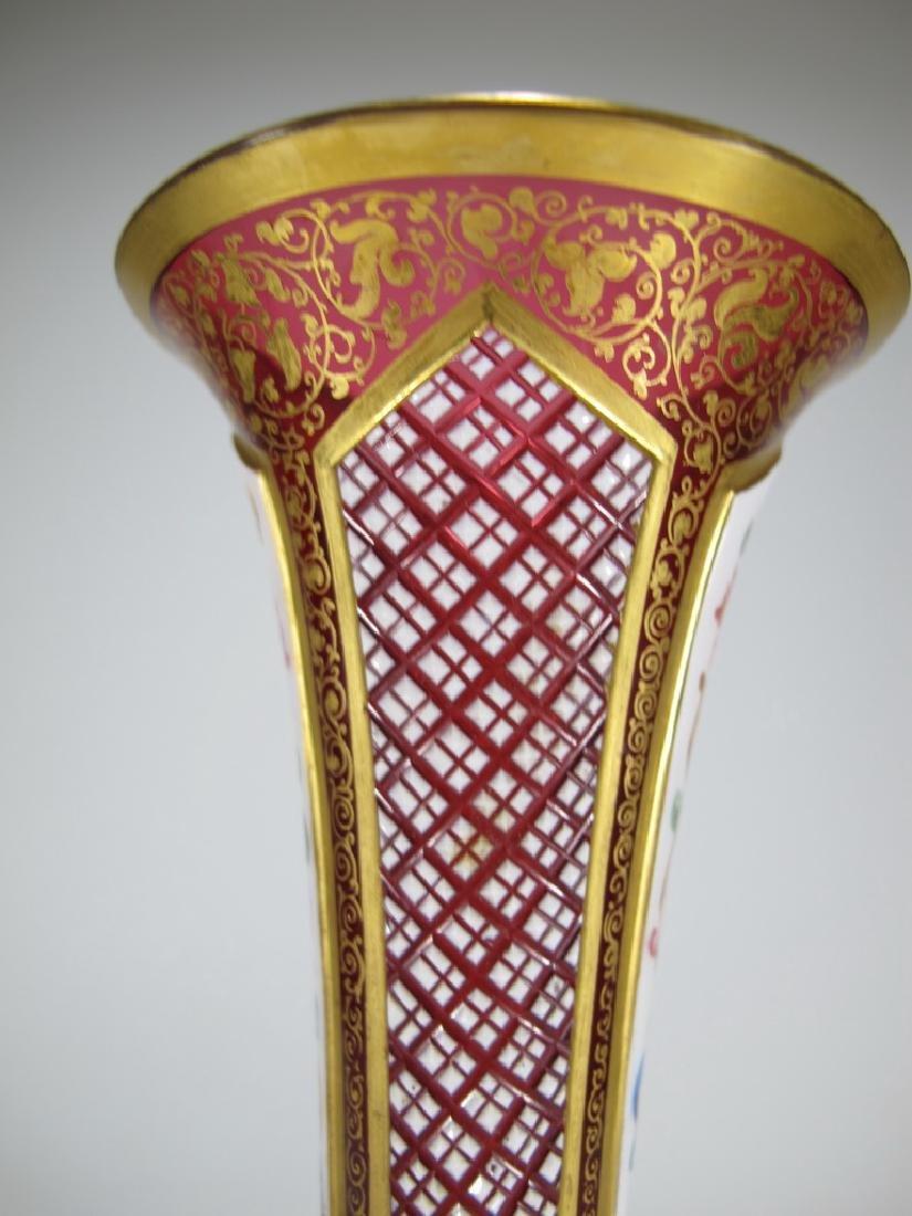 Antique European enamel on glass orchid vase - 5
