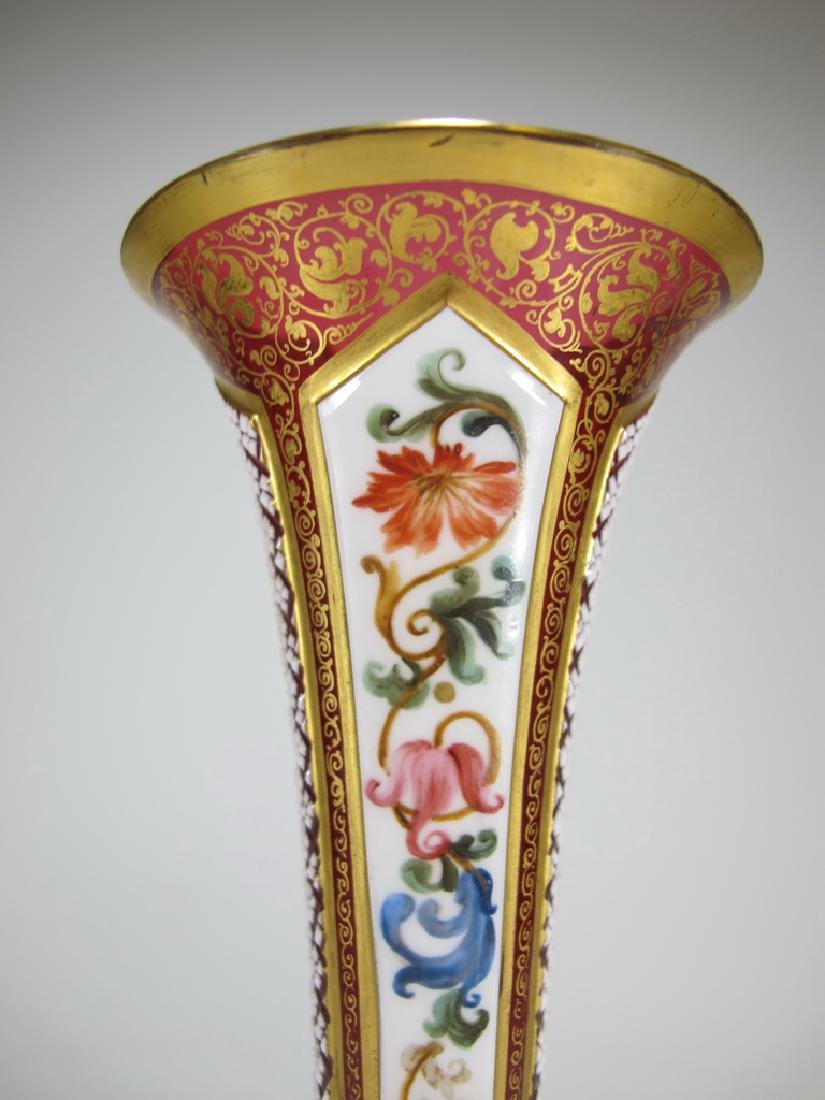 Antique European enamel on glass orchid vase - 6