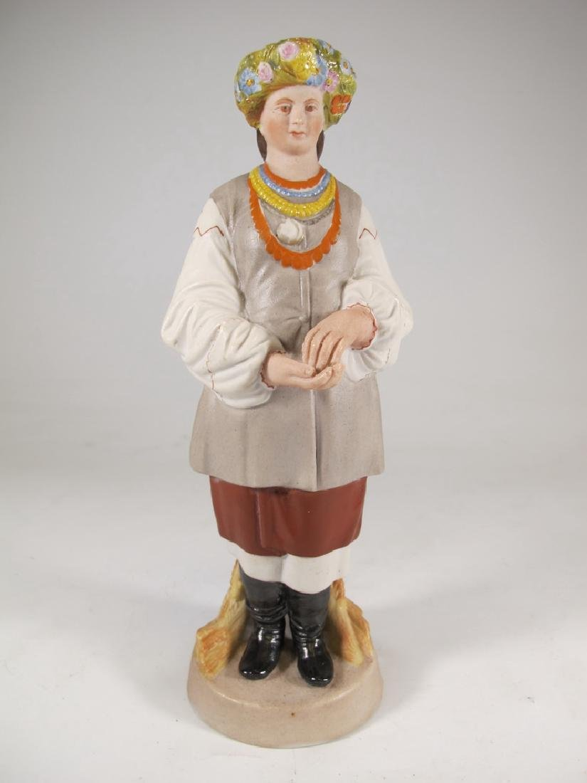 Antique Russian woman porcelain statue, marked