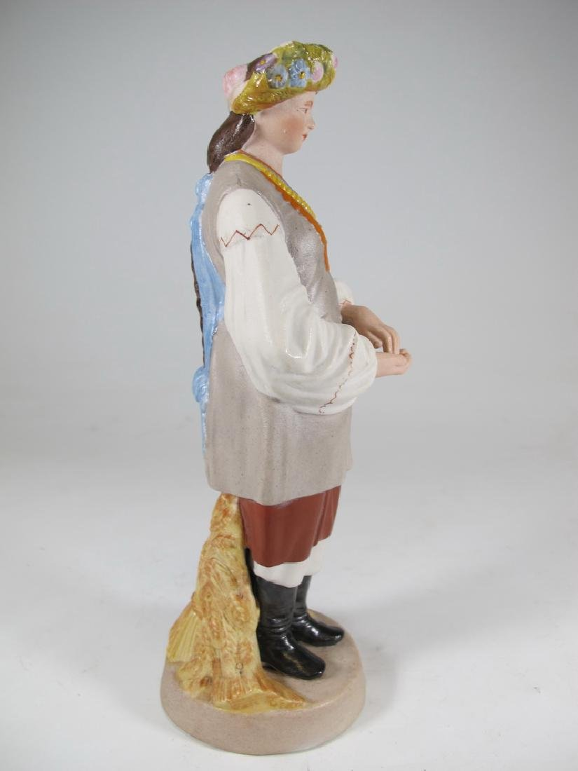 Antique Russian woman porcelain statue, marked - 2