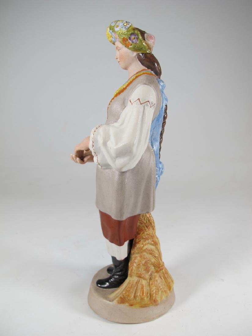 Antique Russian woman porcelain statue, marked - 4