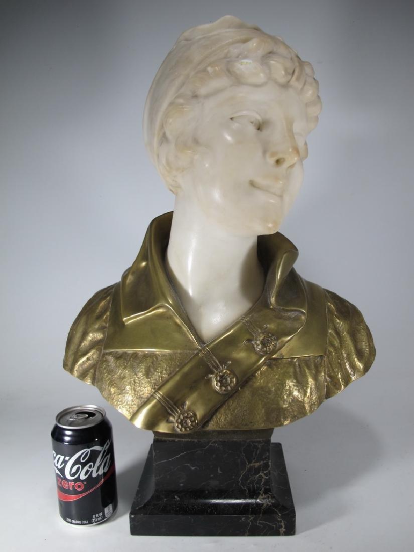 A. TREFOLONI (XIX-XX) bronze & alabaster bust