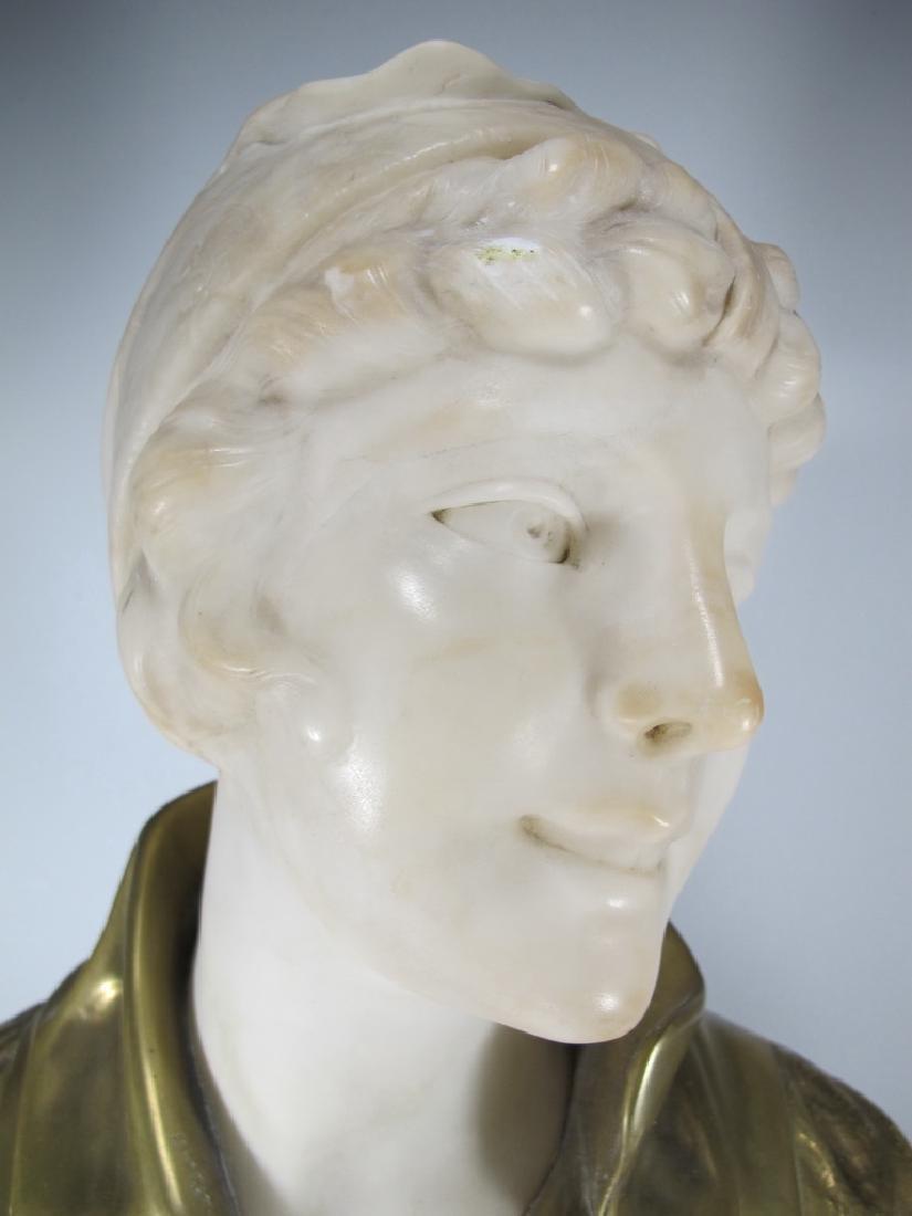 A. TREFOLONI (XIX-XX) bronze & alabaster bust - 2