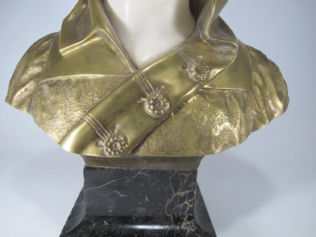 A. TREFOLONI (XIX-XX) bronze & alabaster bust - 3