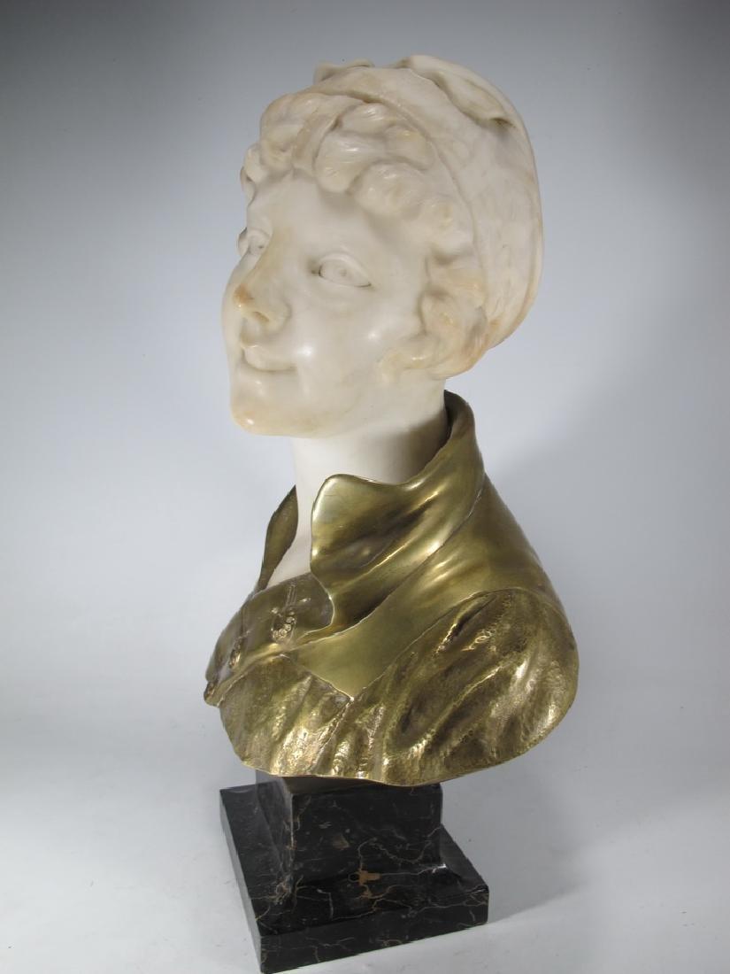 A. TREFOLONI (XIX-XX) bronze & alabaster bust - 4