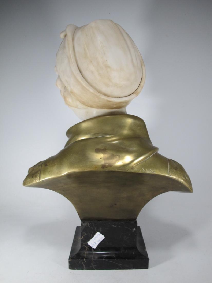 A. TREFOLONI (XIX-XX) bronze & alabaster bust - 5