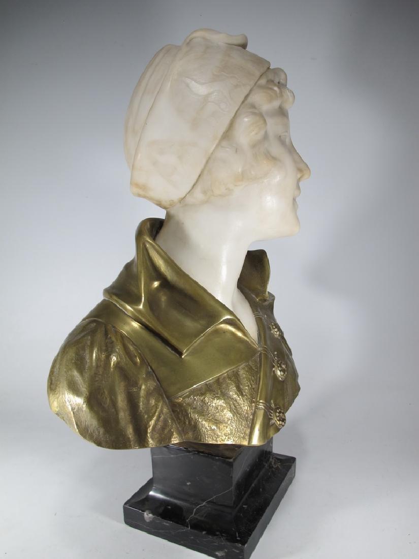 A. TREFOLONI (XIX-XX) bronze & alabaster bust - 7