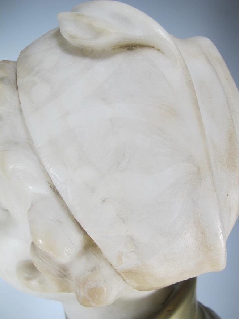 A. TREFOLONI (XIX-XX) bronze & alabaster bust - 8
