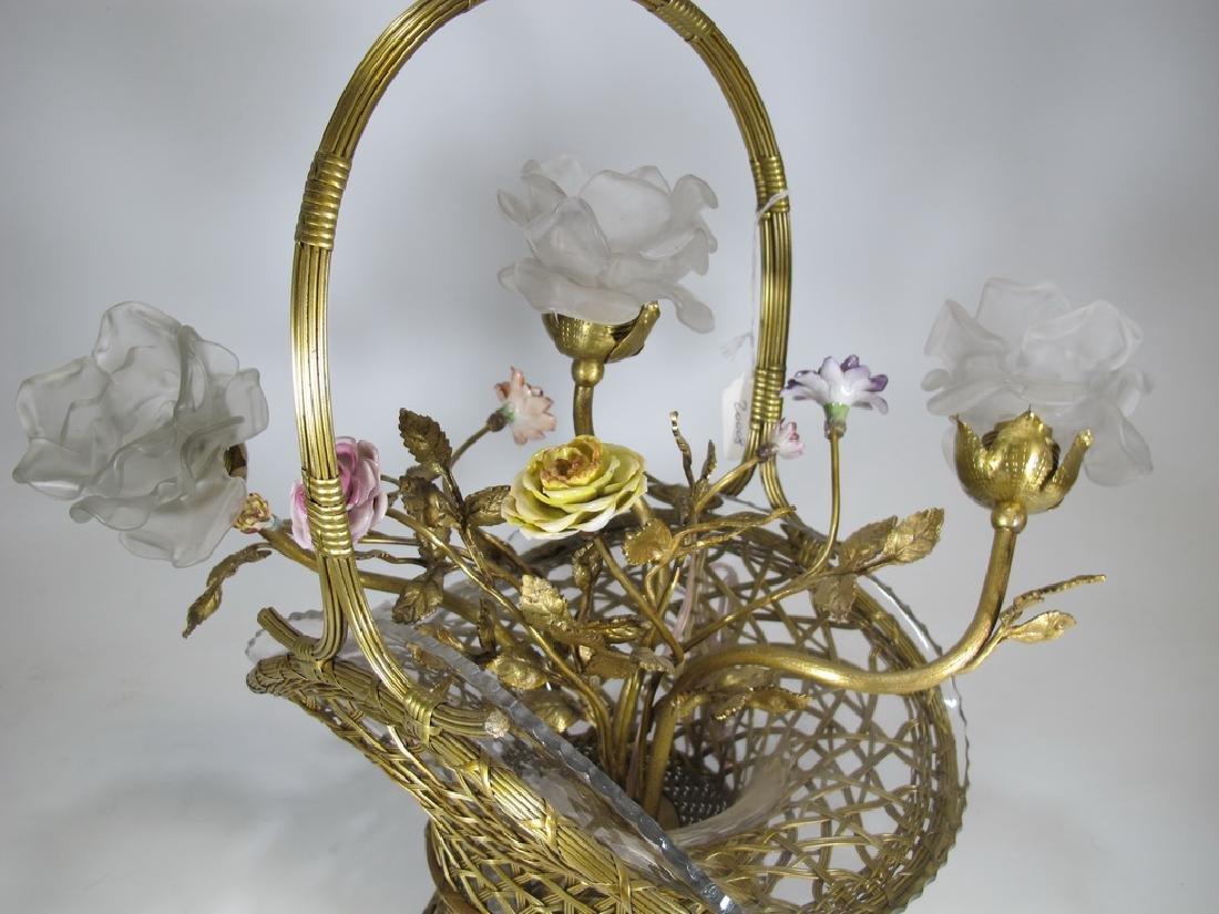 Antique French bronze, glass & porcelain basket lamp - 2
