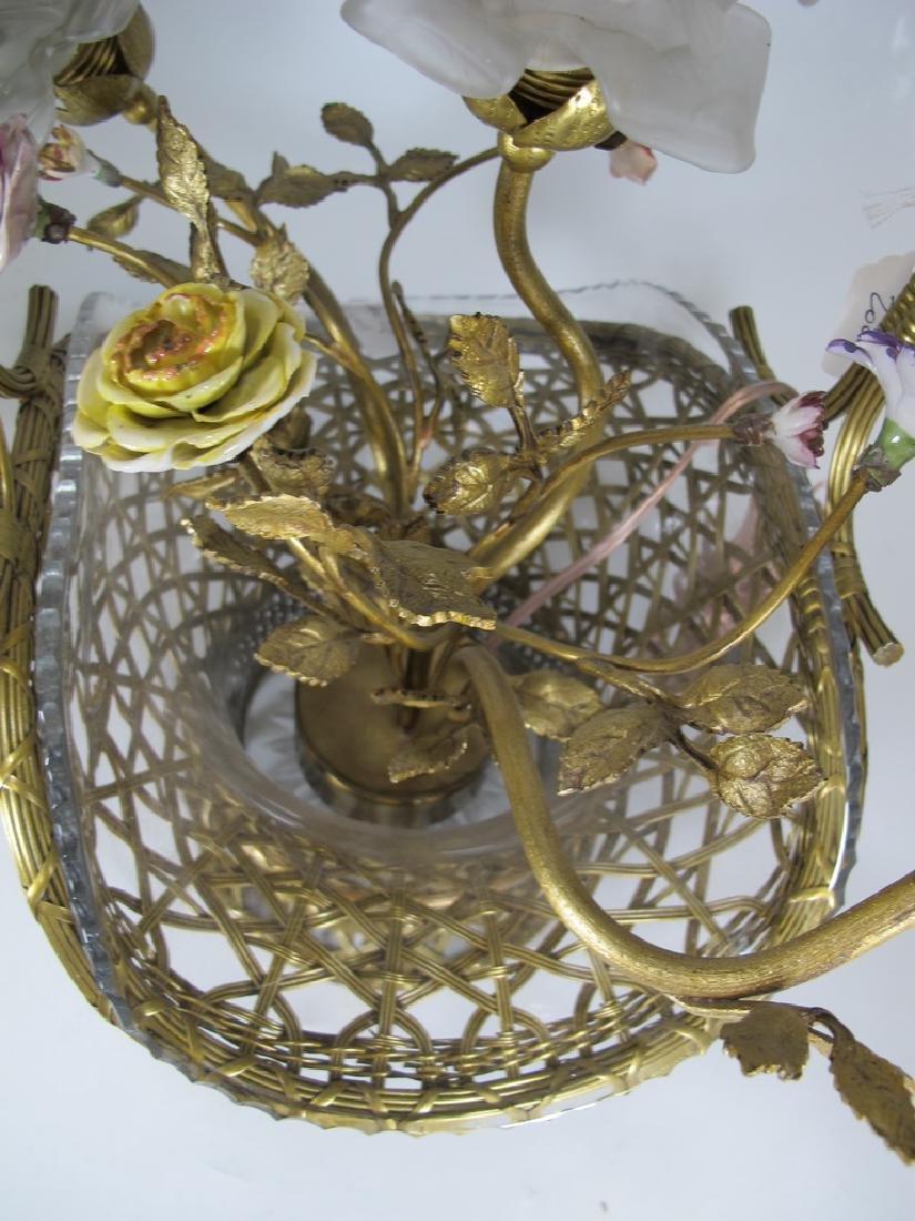 Antique French bronze, glass & porcelain basket lamp - 4