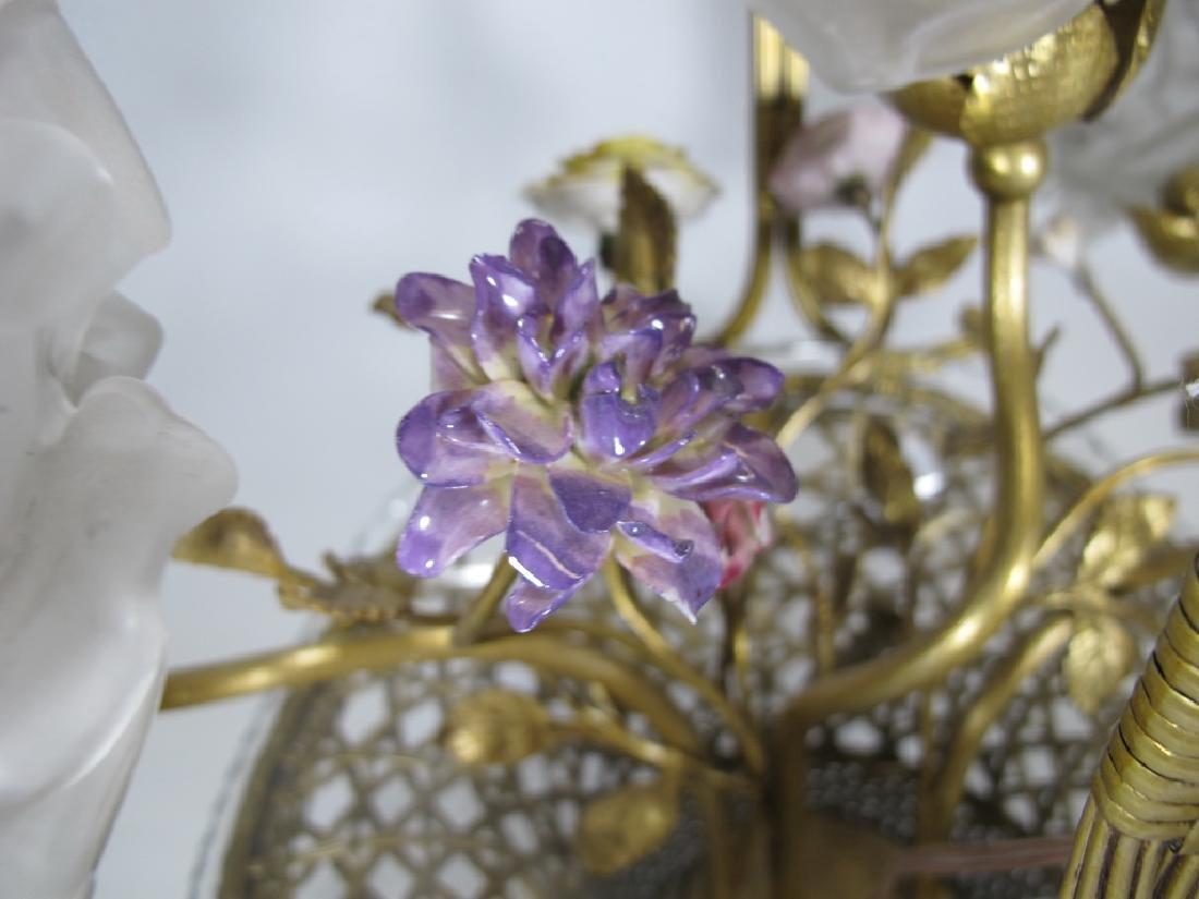 Antique French bronze, glass & porcelain basket lamp - 7