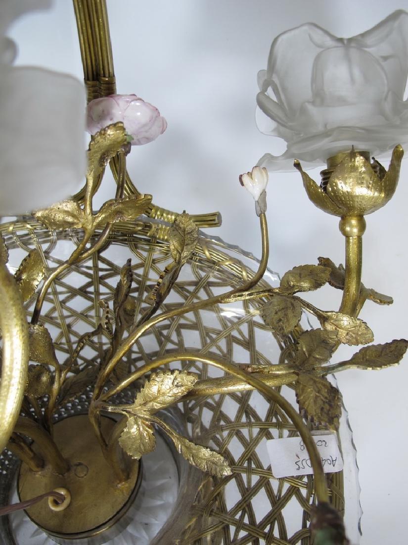 Antique French bronze, glass & porcelain basket lamp - 8