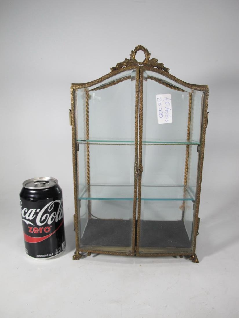 Antique French bronze & glass miniature vitrine