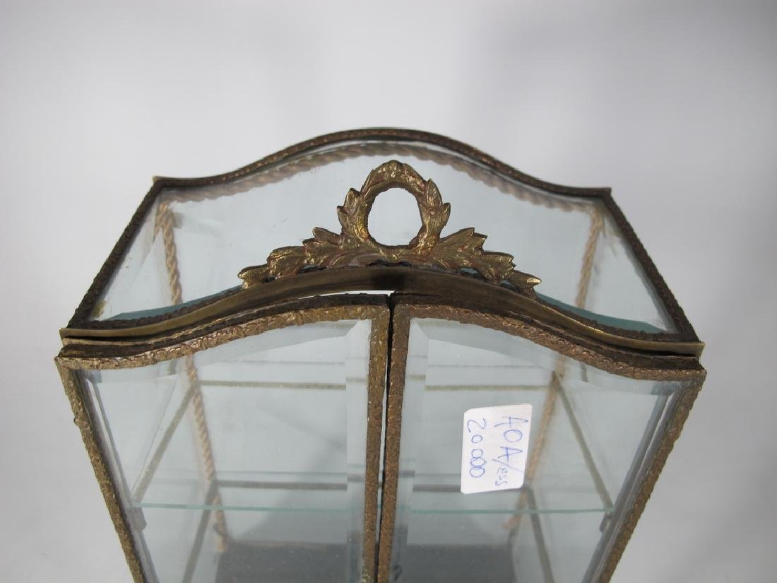 Antique French bronze & glass miniature vitrine - 2