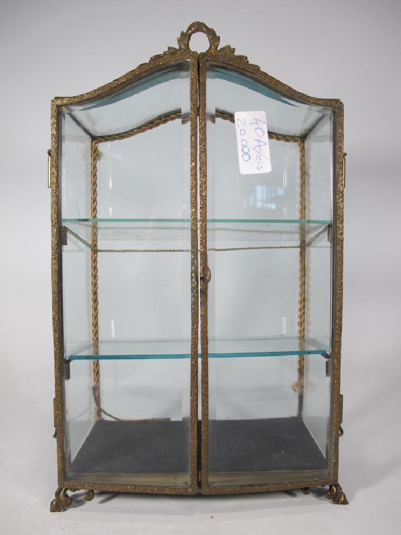 Antique French bronze & glass miniature vitrine - 3