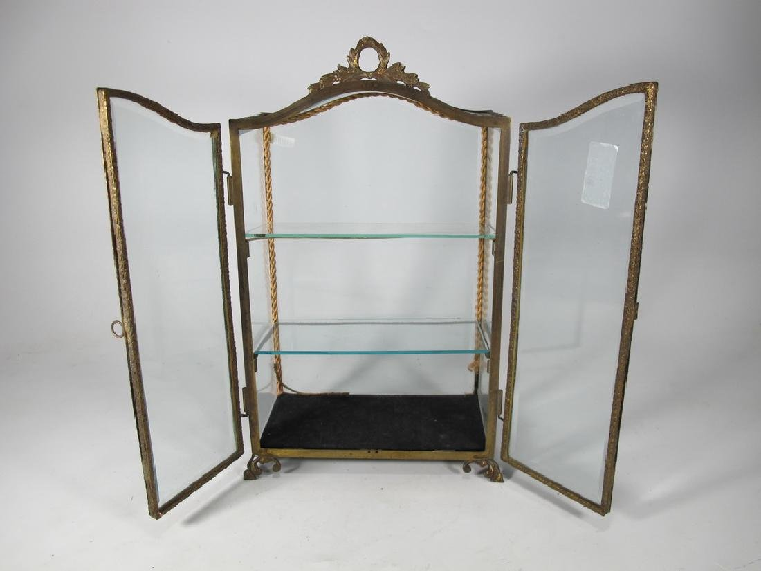 Antique French bronze & glass miniature vitrine - 4