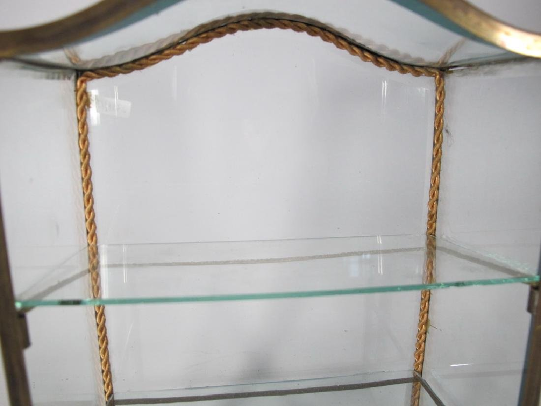 Antique French bronze & glass miniature vitrine - 6