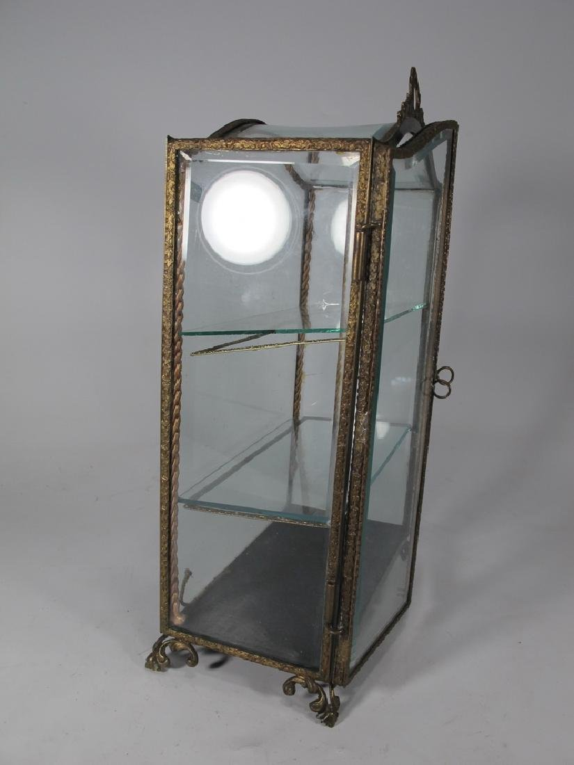 Antique French bronze & glass miniature vitrine - 7