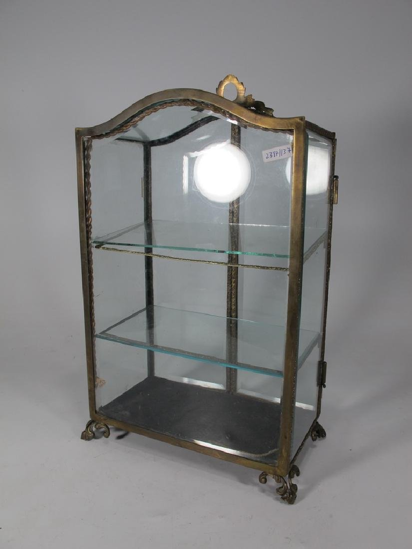 Antique French bronze & glass miniature vitrine - 8
