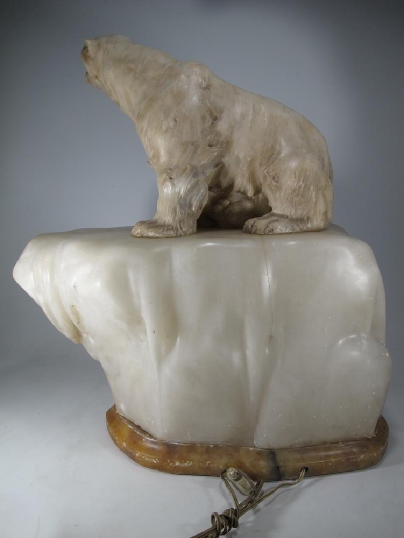 Antiques Art Deco bear alabaster lamp, signed - 3